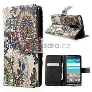Zapínací peňaženkové puzdro pre LG G3 s - květina mandala - 1