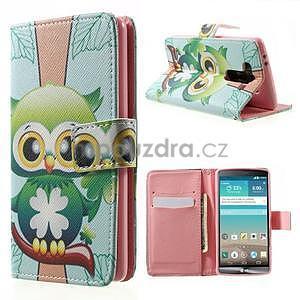 Zapínací peňaženkové puzdro pre LG G3 s - ptáček - 1