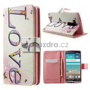 Zapínací peňaženkové puzdro pre LG G3 s - love - 1