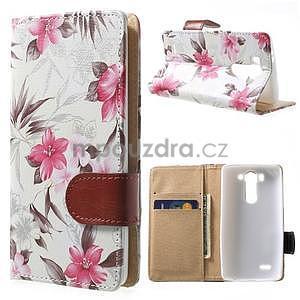 Elegantné lilie peňaženkové puzdro na LG G3 s - biele - 1