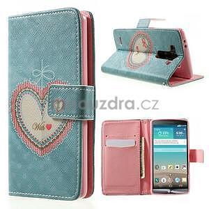 Zapínací peňaženkové puzdro pre LG G3 s - srdce - 1