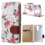 Elegantné lilie peňaženkové puzdro na LG G3 s - biele - 1/6