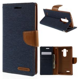 Canvas PU kožené/textilní pouzdro na mobil LG G4 - tmavěmodré - 1
