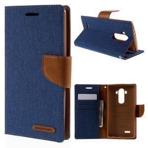 Canvas PU kožené/textilní pouzdro na mobil LG G4 - modré - 1