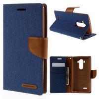 Canvas PU kožené/textilní pouzdro na mobil LG G4 - modré - 1/7