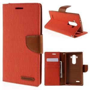 Canvas PU kožené/textilní pouzdro na mobil LG G4 - oranžové - 1
