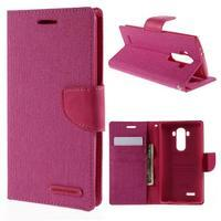 Canvas PU kožené/textilní pouzdro na mobil LG G4 - rose - 1/7