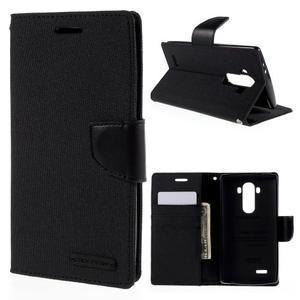 Canvas PU kožené/textilné puzdro pre mobil LG G4 - čierne - 1