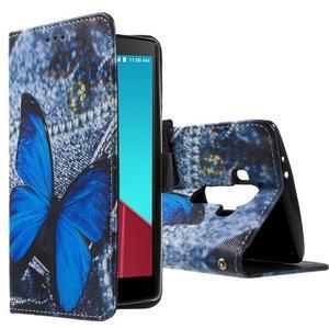 Call peňaženkové puzdro pre LG G4 - modrý motýľ - 1