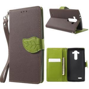 Leaf peněženkové pouzdro na mobil LG G4 - hnědé - 1
