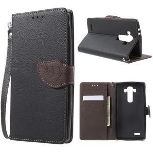 Leaf peňaženkové puzdro pre mobil LG G4 - čierne - 1