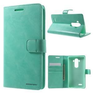 Luxury PU kožené puzdro pre mobil LG G4 - cyan - 1