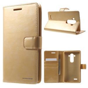 Luxury PU kožené puzdro pre mobil LG G4 - zlaté - 1
