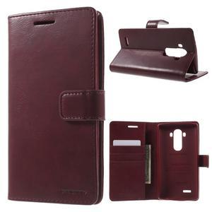 Luxury PU kožené puzdro pre mobil LG G4 - vínove červené - 1