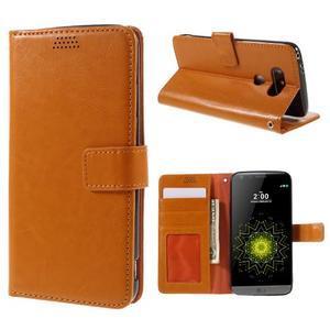 Wax peňaženkové puzdro pre LG G5 - oranžové - 1