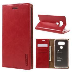 Luxury PU kožené puzdro pre mobil LG G5 - červené - 1