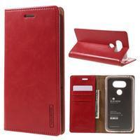 Luxury PU kožené puzdro pre mobil LG G5 - červené - 1/7