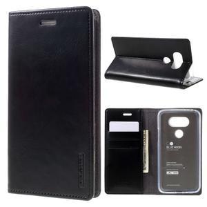 Luxury PU kožené puzdro pre mobil LG G5 - čierne - 1