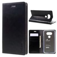 Luxury PU kožené puzdro pre mobil LG G5 - čierne - 1/7