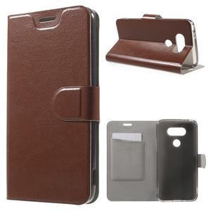 Horse PU kožené peňaženkové puzdro pre LG G5 - hnedé - 1