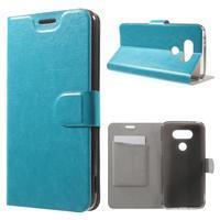 Horse PU kožené peňaženkové puzdro pre LG G5 - modré - 1/7