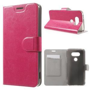 Horse PU kožené peňaženkové puzdro pre LG G5 - rose - 1