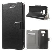 Horse PU kožené peněženkové pouzdro na LG G5 - černé - 1/7