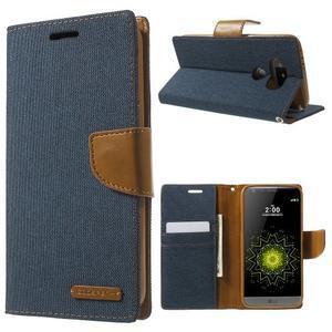 Canvas PU kožené/textilní pouzdro na LG G5 - tmavěmodré - 1