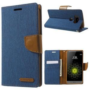 Canvas PU kožené/textilné puzdro pre LG G5 - modré - 1