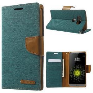 Canvas PU kožené/textilné puzdro pre LG G5 - zelené - 1