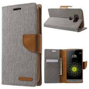 Canvas PU kožené/textilní pouzdro na LG G5 - šedé - 1