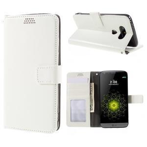 Wax peňaženkové puzdro pre LG G5 - biele - 1