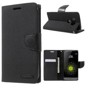 Canvas PU kožené/textilné puzdro pre LG G5 - čierne - 1