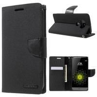 Canvas PU kožené/textilní pouzdro na LG G5 - černé - 1/7