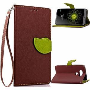 Leaf PU kožené puzdro pre LG G5 - hnedé - 1