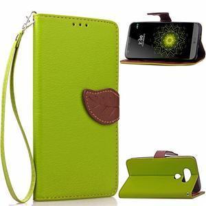 Leaf PU kožené pouzdro na LG G5 - zelené - 1