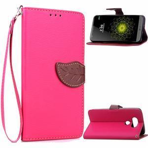 Leaf PU kožené puzdro pre LG G5 - rose - 1