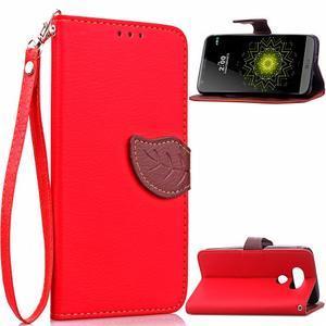 Leaf PU kožené pouzdro na LG G5 - červené - 1