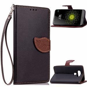 Leaf PU kožené puzdro pre LG G5 - čierne - 1