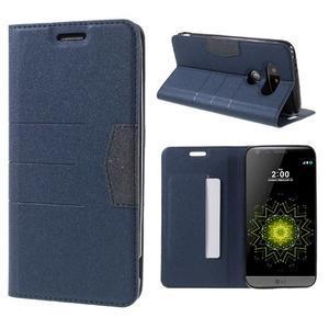 Klopové peneženkové pouzdro na LG G5 - tmavěmodré - 1