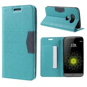 Klopové peneženkové pouzdro na LG G5 - světlemodré - 1