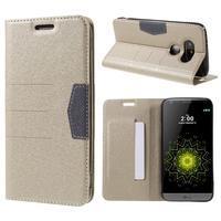 Klopové peňaženkové puzdro pre LG G5 - zlaté - 1/7