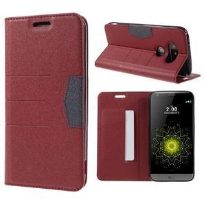 Klopové peneženkové pouzdro na LG G5 - červené - 1