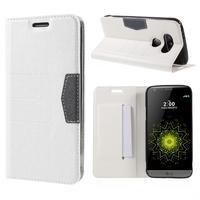 Klopové peňaženkové puzdro pre LG G5 - biele - 1/7
