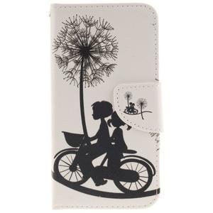 Obrázkové koženkové puzdro pre LG G5 - láska na bicykli - 1