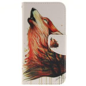 Obrázkové koženkové puzdro pre LG G5 - vlk - 1
