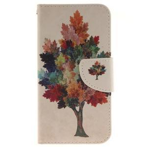 Obrázkové koženkové puzdro pre LG G5 - farebný strom - 1