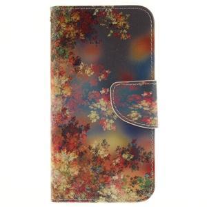 Obrázkové koženkové puzdro pre LG G5 - maľované listí - 1