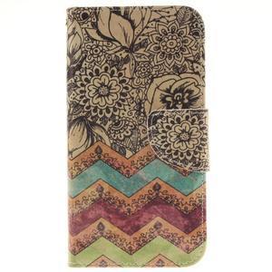 Obrázkové koženkové puzdro pre LG G5 - maľované kvetiny - 1