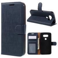 Cloth koženkové peňaženkové puzdro pre LG G5 - tmavomodré - 1/7